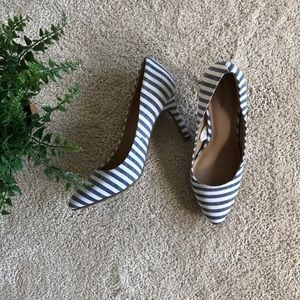 Merona} White and Navy Striped Heels